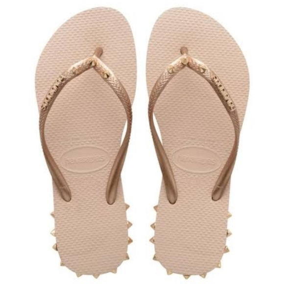 havaianas slippers rose gold